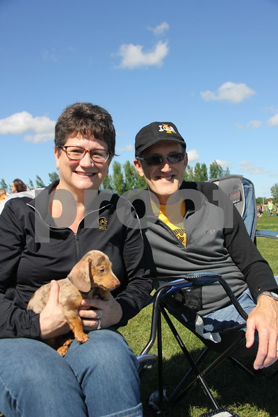 Saturday Morning Soccer was held at Harlan Rogers Sports Complex on Saturday. September 10, 2016 in Fort Dodge. Present and taking part in the event were several teams of all ages and comprised of both boys and girls. Shown here (Left to right) is: Jim and Mindy McColley and their dog.