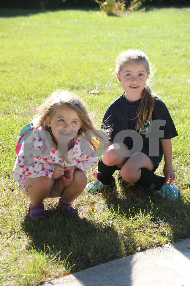 Saturday Morning Soccer was held at Harlan Rogers Sports Complex on Saturday. September 10, 2016 in Fort Dodge. Present and taking part in the event were several teams of all ages and comprised of both boys and girls. (Left to right) Paizley and Lorelei Miller are shown here taking a break from playing on the sidelines.