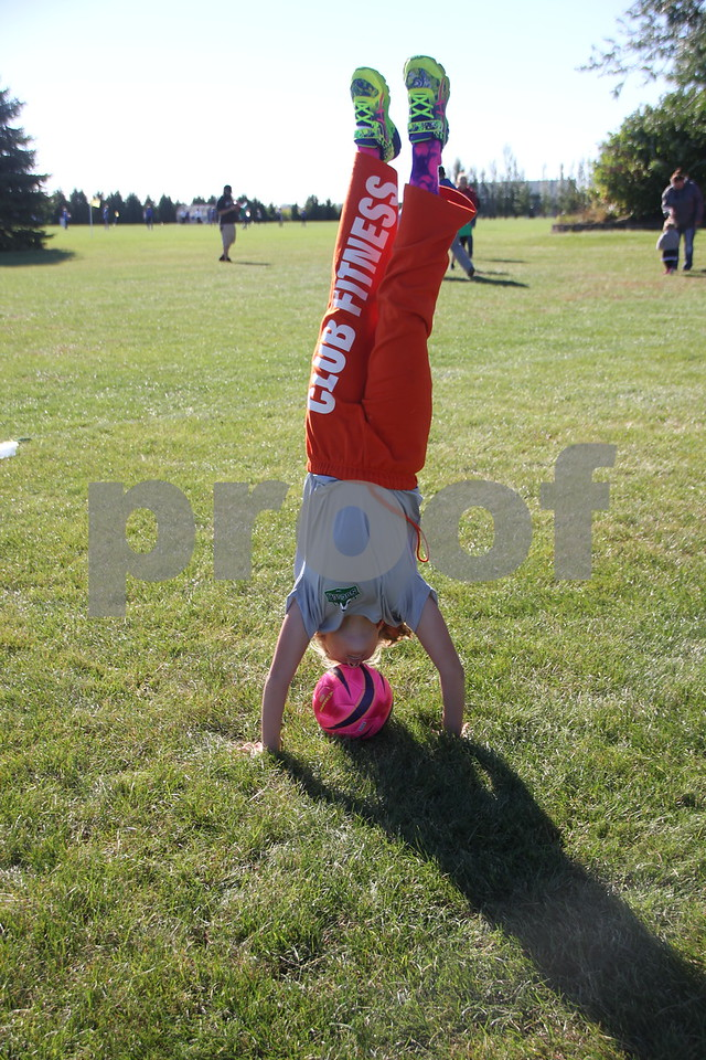 Saturday Morning Soccer was held at Harlan Rogers Sports Complex on Saturday. September 10, 2016 in Fort Dodge. Present and taking part in the event were several teams of all ages and comprised of both boys and girls.  Faith Shirbroun is shown here doing a hand stand over a soccer ball at the game.