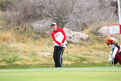 Sidney's Austin Miller chips onto the green at the Sidney Invite on Thursday at the Hillside Golf Course in Sidney.