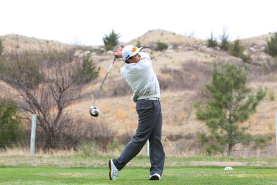 Gering's Reggie Reyes hits his drive at the Sidney Invite on Thursday at the Hillside Golf Course in Sidney.