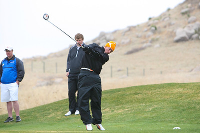 Ogallala's Tyler Zoellner hits his drive at the Sidney Invite on Thursday at the Hillside Golf Course in Sidney.