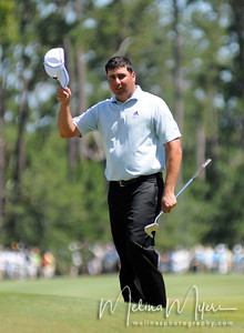 Pat Perez acknowledges the crowd at the 11th hole of the 2009 The Players held May 4-10 in Ponte Vedra Beach, Florida.