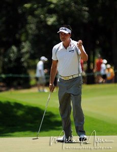 Daniel Chopra acknowledges the crowd after making a putt at the 2009 The Players held May 4-10 in Ponte Vedra Beach, Florida.