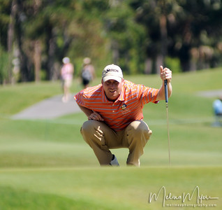 John Rollins lines up his shot at the 11th hole of the 2009 The Players held May 4-10 in Ponte Vedra Beach, Florida.