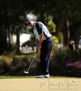 Brian Davis makes a putt on the 15th hole of the 2009 The Players held May 4-10 in Ponte Vedra Beach, Florida.