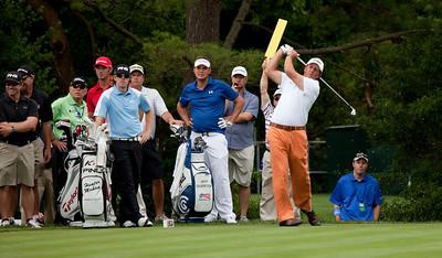 Butch Harmon (green) Dustin Johnson (USA) (red) Hunter Mahan (USA) (lt blue) Dustin Johnson (USA)(dark blue) Phil Mickelson (USA) hitting