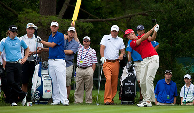 Hunter Mahan (USA) Jeff Overton (USA) Phil Mickelson (USA) Dustin Johnson (USA) hitting