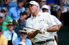 July 15, 2012; Lake Orion, MI, USA; Tom Lehman (USA) watches his tee shot from the 1st hole during the final round of the U.S. Senior Open at Indianwood Golf and Country Club. Mandatory Credit: Tim Fuller-US PRESSWIRE