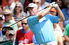 July 15, 2012; Lake Orion, MI, USA; Roger Chapman (GBR) watches his tee shot from the 1st hole during the final round of the U.S. Senior Open at Indianwood Golf and Country Club. Mandatory Credit: Tim Fuller-US PRESSWIRE