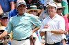 July 15, 2012; Lake Orion, MI, USA; Fred Couples (USA, left) and Fred Funk (USA,right) chat on the 1st tee box during the final round of the U.S. Senior Open at Indianwood Golf and Country Club. Mandatory Credit: Tim Fuller-US PRESSWIRE