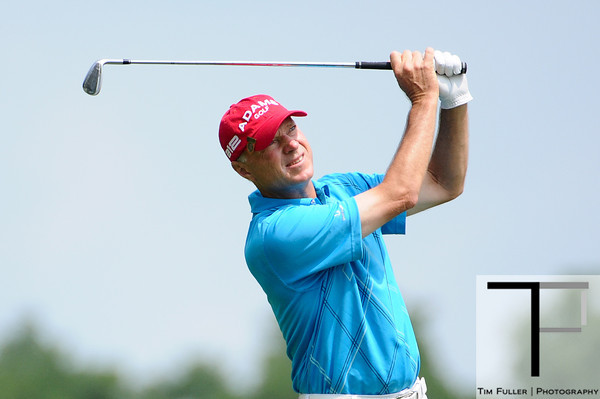 July 15, 2012; Lake Orion, MI, USA; Gary Hallberg (USA) watches his tee shot from the 3rd hole during the final round of the U.S. Senior Open at Indianwood Golf and Country Club. Mandatory Credit: Tim Fuller-US PRESSWIRE