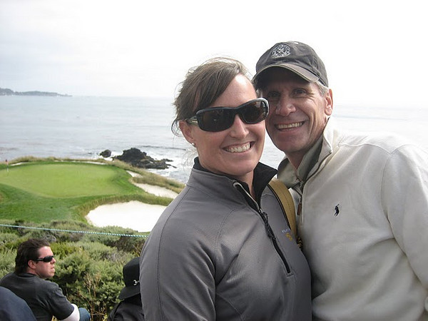 "Our only photo actually AT Pebble Beach.  It helps to have friends in the media who can have electronics on the course ... though this picture was still ""illegal""."