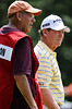 July 14, 2012; Lake Orion, MI, USA; Tom Watson (USA, right) and his caddie Neil Oxman (left) on the 8th green during the third round of the U.S. Senior Open at Indianwood Golf and Country Club. Mandatory Credit: Tim Fuller-US PRESSWIRE
