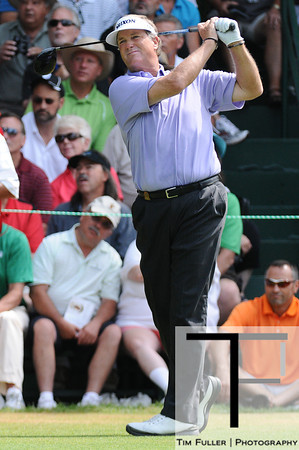 July 14, 2012; Lake Orion, MI, USA; Peter Jacobsen (USA) tees off on the 1st hole during the third round of the U.S. Senior Open at Indianwood Golf and Country Club. Mandatory Credit: Tim Fuller-US PRESSWIRE