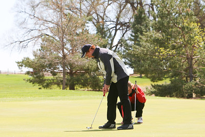Bayard'sTrae Blanco puts on hole number eight at the Western Trails Conference Tournament at Bayard on Saturday