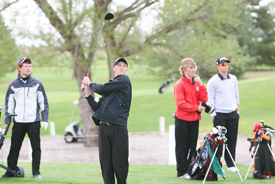 Mitchell's Taran Braman hits his drive on hole number nine at the Western Trails Conference Tournament at Bayard on Saturday