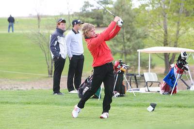 Kimball's Jeff Greenwood hits his drive shot on hole number nine at the Western Trails Conference Tournament at Bayard on Saturday.