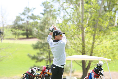 Gordon/Rushville's Rener Sahr hits his drive shot on hole number nine at the Western Trails Conference Tournament at Bayard on Saturday.