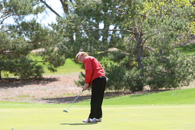 Kimball's Jeff Greenwood puts on number eight hole at the Western Trails Conference Tournament at Bayard on Saturday.