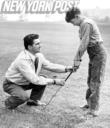 Father and son golf lessons at Dyker Heights Golf Club. 1955
