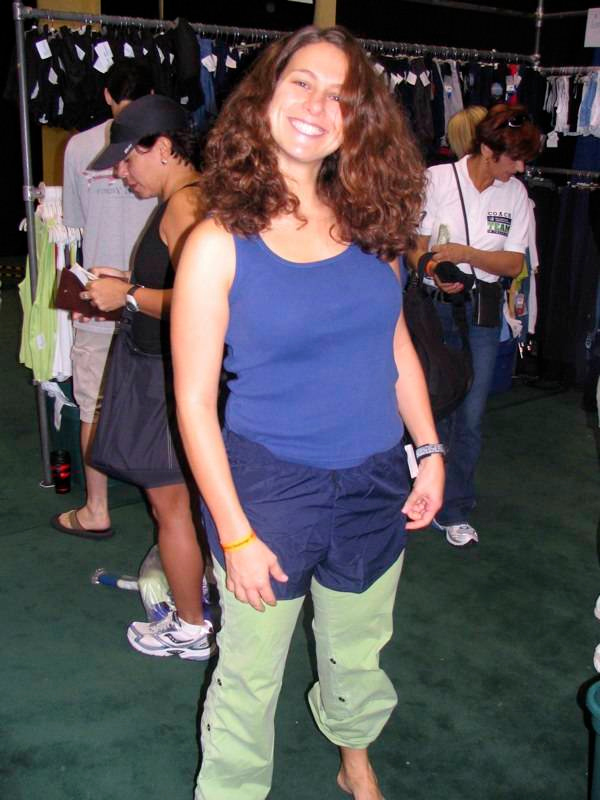 JS trying on short @ the Expo....nope, not short enough!