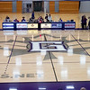 A view of the Goshen Maple Leafs logo at center court during Friday's game at Ruth Gunden Gymnasium in Goshen.