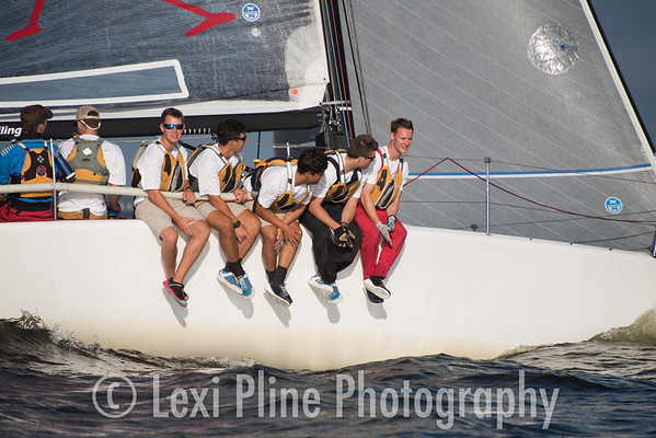 Members of the Naval Academy Sailing School crewed the Melges 23 Maverick the Governor's Cup Regatta last Friday.