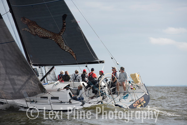 "The Mod Mumm 36, ""Cheetah,"" moments after the evening start of the Governor's Cup Regatta last Friday."