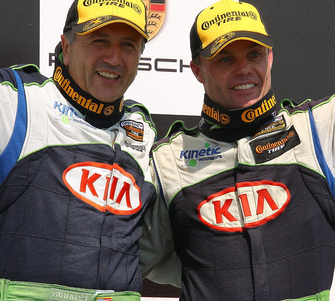 KIA Kinetic Motorsports Mike Galati and Jonsson on Podium Barber Motorsports Park