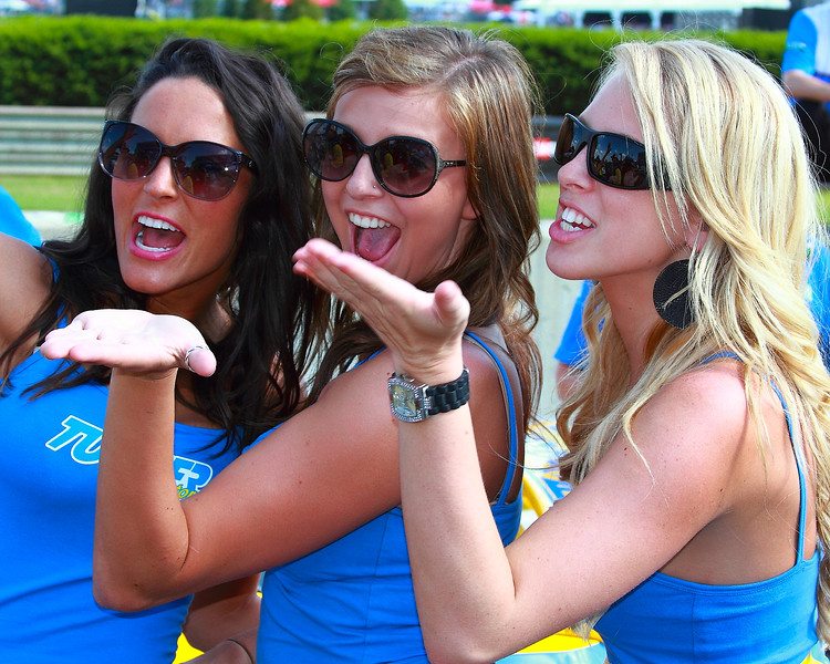 Turner Motorsport Girls Grand-Am Race Blow Kisses at the 2012 Barber Motorsports Park Races