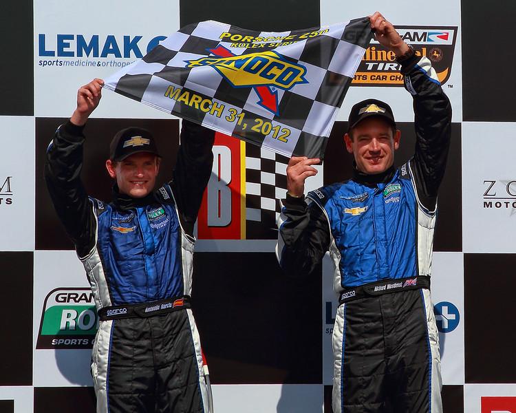 Spirit of Daytona drivers hold Sunoco Checkers Victory Lane Barber
