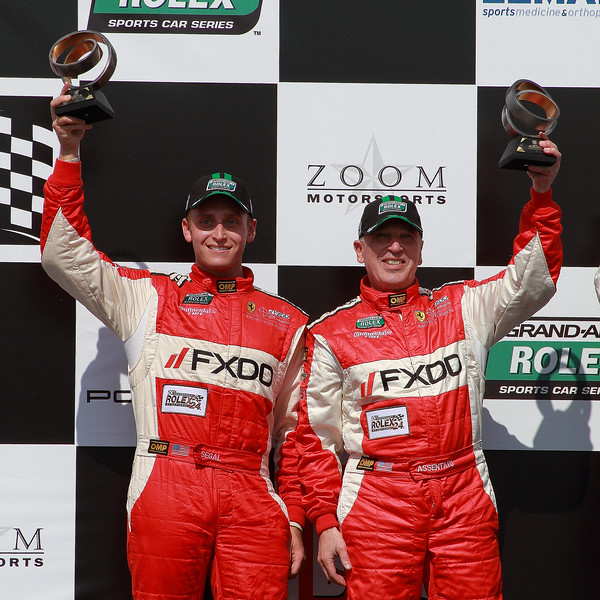 Aim Autosport Emil Assentato and Jeff Segal celebrate 2nd GT Grand-Am Rolex Porsche 250 at Barber 250