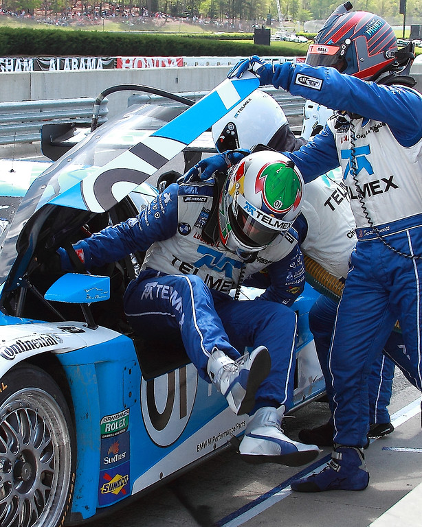 Scott Pruett and Memo Rojas swap driving 01 BMW Riley TELMEX Grand-Am car Barber