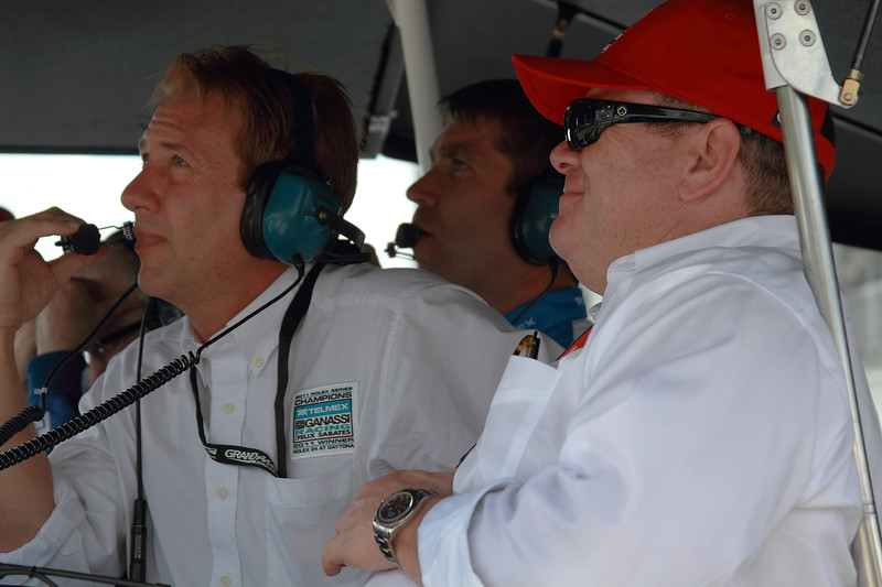 TELMEX CGRFS Team Tim Keene and Chip Ganassi look on as Rojas receives stop-and-go penalty for avoidable contact on lap 52