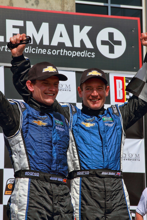 Grand-Am Rolex Racing Series Antonio Garcia and Richard Westbrook celebrate win Porsche 250