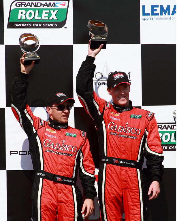Grand-Am Rolex Drivers Jon Fogarty and Alex Gurney Victory Lane GAINSCO Corvette DP 2nd place