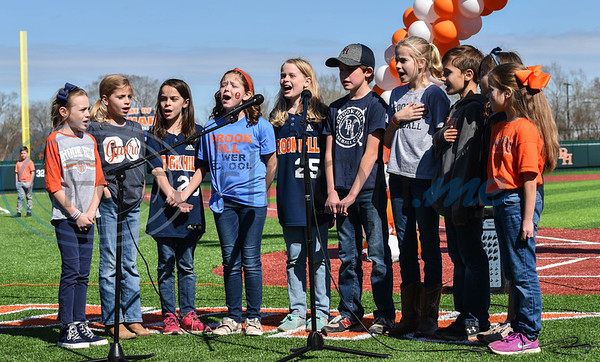 Brook Hill cadets sing the National Anthem during the schools Grand Opening Ceremony for the Ball Parks Herrington Field on Saturday, February 8. (Jessica T. Payne/Tyler Morning Telegraph)