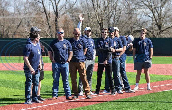 Former Brook Hill baseball players wave to the crowd during the schools Grand Opening Ceremony for the Ball Parks Herrington Field on Saturday, February 8. (Jessica T. Payne/Tyler Morning Telegraph)
