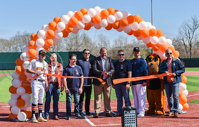 Brook Hill Head of School Rod Fletcher cuts the ribbon during the high schools Grand Opening Ceremony for the Ball Parks Herrington Field on Saturday, February 8. (Jessica T. Payne/Tyler Morning Telegraph)