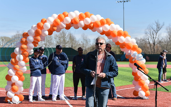 Brook Hill athletic director Wally Dawkins addresses the crowd during the schools Grand Opening Ceremony for the Ball Parks Herrington Field on Saturday, February 8. (Jessica T. Payne/Tyler Morning Telegraph)