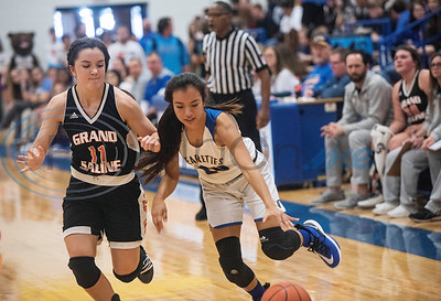 Brownsboro's Laura Escamilla (20) dribbles the ball around Grand Saline's Delene Meyer (11) during the Great East Texas Shoot Out held at Brownsboro High School on Thursday, Dec. 12, 2019.  (Sarah A. Miller/Tyler Morning Telegraph)