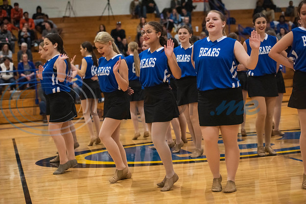 The Brownsboro High School drill team performs during halftime of the girls basketball game during the Great East Texas Shoot Out held at Brownsboro High School on Thursday, Dec. 12, 2019.  (Sarah A. Miller/Tyler Morning Telegraph)
