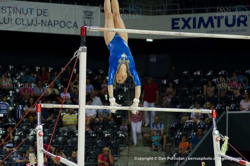 Larisa Iordache evolueaza la paralele, la Campionatul National de Gimnastica, Cluj Napoca, 03 iulie 2017. Inquam Photos / Dan Porcutan
