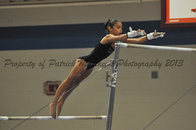 Sophie Gessman of Chesire competes on the uneven parallel bars for the West.