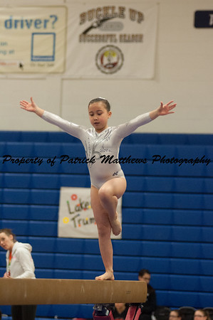 Natalie DeMatteo competes on beam during the YMCA State competition held at Plainville HIgh School on April 4th and 5th