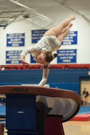 Megan Walsh competes on vault  during the YMCA State competition held at Plainville HIgh School on April 4th and 5th