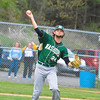 Nashoba reliever Nick Carlucci fires to first during Saturday night's win over North Middlesex. Nashoba Valley Voice/Ed Niser