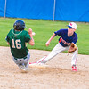 North Middlesex second baseman David Hurley awaits the throw as Nashoba's Jonah Lemieux swipes second safely. Nashoba Valley Voice/Ed Niser