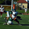 Ayer Shirley running back Alex Walker is wrapped by Burncoat's Nathan Dubay.<br /> NASHOBA PUBLISHING/ED NISER